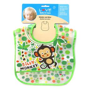 Babador Com Bolso E Ajustável Em Velcro - Silly Monkey - Lov