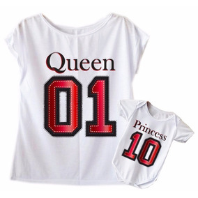 Blusa + Body Femininas Mãe E Filha Queen Princess Flamê