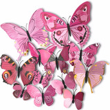 Set 12 Mariposas Rosas Para Decoracion Con Iman H4087