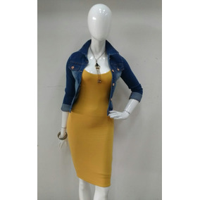 Hermoso Vestido Color Mostaza Entallado Con Tirantes.
