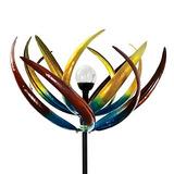 Luz Solar Con Forma De Tulipán Multicolor Que Gira Con El Vi