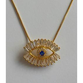 Ojo De La Suerte Mediano / Oro Con Azul