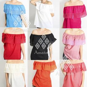 Lote 12 Blusas Campesinas Artesanales Varios Colores