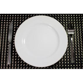 12 Prato Cerâmica Raso Segunda Linha Restaurante 25 Cm 3302