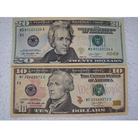 Estados Unidos 2 10 E 20 Dólares Americanos Unc Coleção