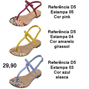 Sandalia Rasteira Estampada