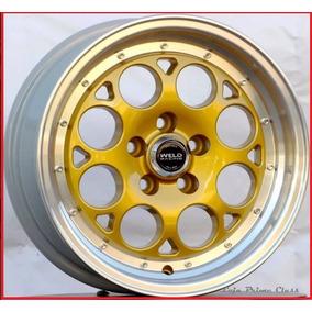 Par Roda Weld Racing Aro15x7 4x100 Dourada +bicos C17 15