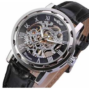Relógio Em Esqueleto Mecânico Estilo Esporte Fino