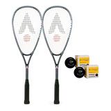 Kit 2 Raquetes De Squash Pro Hybrid Karakal + 2 Bolas Brinde