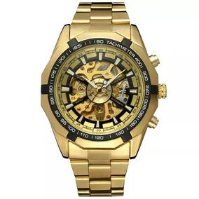 Relógio Automático Dourado Masculino Social Luxo Inoxidável