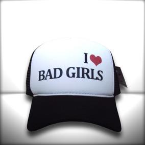 Boné I Love Bad Girls Branco E Preto Trucker Frete Grátis 8e167d00349