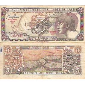 Cédula Nota 5 Cinco Cruzeiros Índio Antiga Extinta Rara Fora