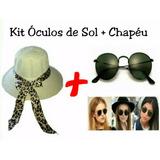 Chapéu Feminino Praia Bossa Nova + Óculos Redondo Vintage 4bfcaad9ba8