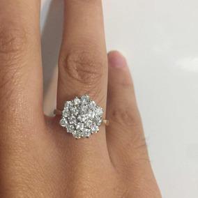 Walk-in Espectacular Anillo Oro 18k Con Diamantes Compromiso