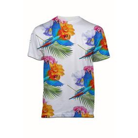 Camiseta Estampada Masculina Arara Flores Floral Tropical