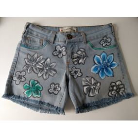 e92c1beef Short Jeans Feminino Customizado Pintado Elastano 38 Roupa
