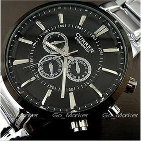 Relógio Curren 8001, Preto, Cromado, 5 Cm. Grande, Pesado