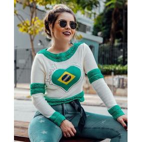 d28e60aef41b6 Blusa Tricot Seleção Brasileira Feminina Brasil Copa 2018