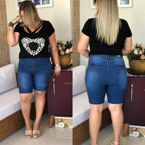 Bermuda Shorts Plus Size Jeans Roupas Femininas Até O 56!!!