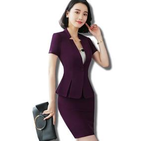 Trajes De Mujer Saco Blazer + Falda Slim Fit Un Botón Formal dd44fa050d7