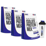 Combo 3 Whey Protein Isolado Mix Refil 1.8kg Profit + Brinde