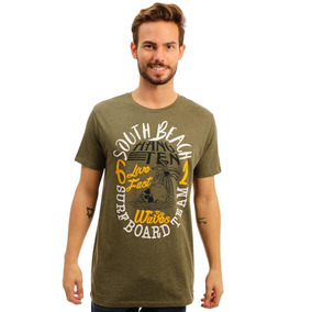 Playera Verde Olivo Estampada Hang Ten South Beach