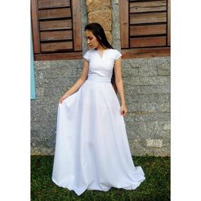 Vestido De Noiva Moda Evangélica Longo Simples E Barato