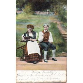 Postal Antigo Casal Engraçado Circulado No Paraná Em 1905