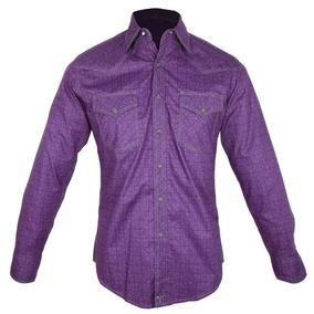 Camisa Country Masculina Wrangler Roxa Mjc063m 891e83785bf