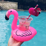Kit 40 Boias Flamingo Porta Copos Inflável