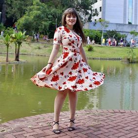 Vestido Moda Evangélica Com Ziper E Cinto Floral Eloa