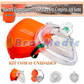 Máscara Ressuscitadora Pocket Para Rcp, Kit Com 03 Unidades