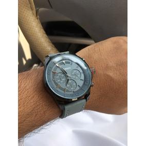 Relógio Original Curren Cinza Pulseira De Couro Aço
