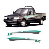 Faixa Adesivos Fiat Fiorino Lx 1994 1995 Verde E Grafite