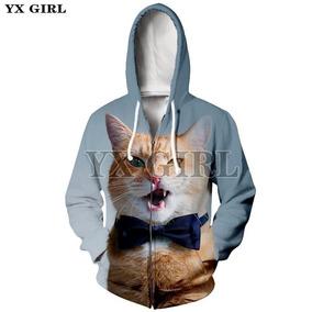 830c6c23d65 Yx Chica Mujer 3d Impresión Lindo Gato Cremallera Sudaderas