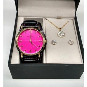 01d11322ad6e5 Relogio Feminino Dourado Com Visor Rosa - Relógios no Mercado Livre ...