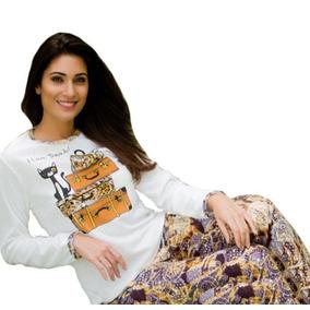Pijama Adulto Plush Inverno Frio Longo Feminino Roupa Dormir