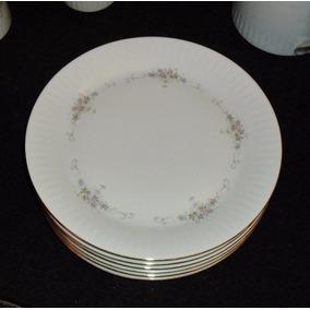 Platos Playos Porcelana Tsuji Bordes Oro X Unidad
