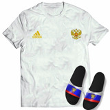 Kit Camisa + Chinelo Slide Seleção Russia Copa Mundo 2018 76cb074438f9f