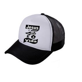 Boné Trucker Telinha Aba Curva Frase Jesus Unissex d5a3ed251f0