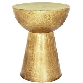 Banqueta Dourada Em Metal