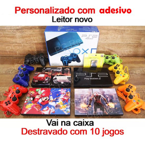 Playstation 2 Slim + 02 Controles + 10 Jogos + Memory C Ps2