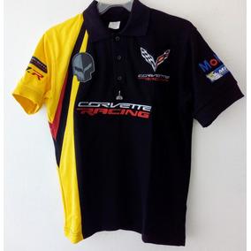 Playera Polo Corvette Racing Mobil1 Michellin Negra Caballer