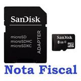 Cartão De Memória Sandisk Micro Sd 8gb + Adaptador Lacrado