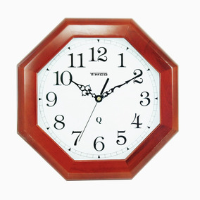 Reloj De Pared Madera Hexagonal Grande 4908