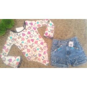 Conjunto Infantil Feminino Short Jeans + Bory Manga Longa