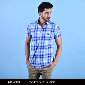 Camisa Porto Blanco Caballero Cuadros Manga Corta Mc-803