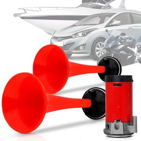 Buzina Carro 2 Cornetas A Ar Vermelhas Automotiva