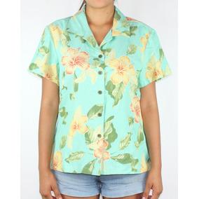 Camisa Dama Marca Jamaica Modelo Flores Verde- Envio Gratis