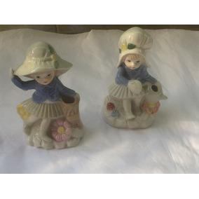Par De Figuras Porcelana Antiguas Altura 12 Cm Buen Estado